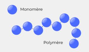 Illustration d'un monomère vs. polymère